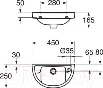 Умывальник настенный Gustavsberg Nordic 2450 (GB1124500108)