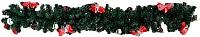 Гирлянда еловая Ёлкино С декором (1.5м, зеленая/красная) -