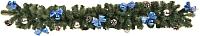 Гирлянда еловая Ёлкино С декором (1.5м, зеленая/синяя) -