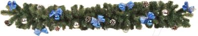 Гирлянда еловая Ёлкино С декором (1.5м, зеленая/синяя)