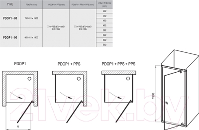 Душевая дверь Ravak Pivot PDOP1 80 (03G40C00Z1)