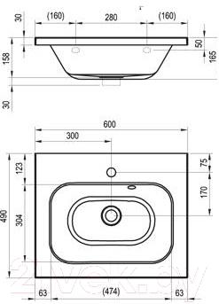 Умывальник Ravak Chrome 60 (XJG01160000)