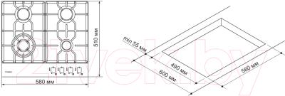 Газовая варочная панель Pyramida PFE 643 Black Luxe