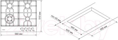 Газовая варочная панель Pyramida PFE 643 White Luxe