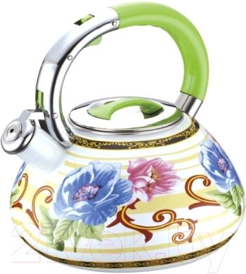 Чайник со свистком Peterhof PH-15609 (зеленая ручка)