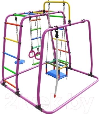 Детский спортивный комплекс Формула здоровья Игрунок-Т Плюс (розовый/радуга)