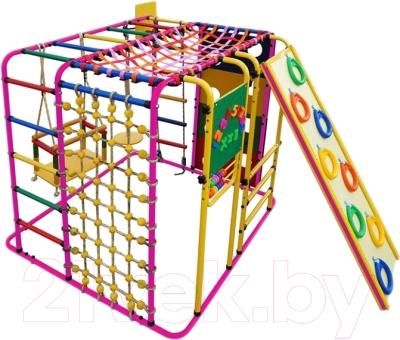 Детский спортивный комплекс Формула здоровья Кубик-У Плюс (розовый/радуга)
