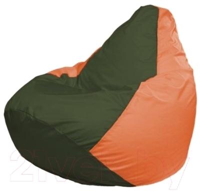 Бескаркасное кресло Flagman Груша Мини Г0.1-56 (темно-оливковый/оранжевый)