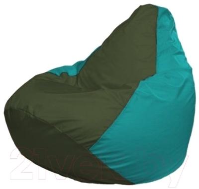 Бескаркасное кресло Flagman Груша Мини Г0.1-58 (темно-оливковый/бирюзовый)