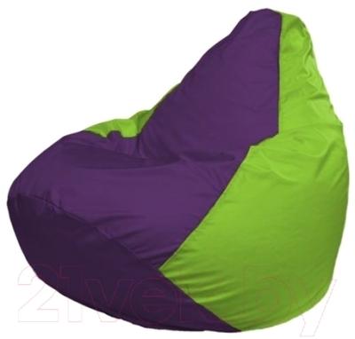 Бескаркасное кресло Flagman Груша Макси Г2.1-31 (фиолетовый/салатовый)