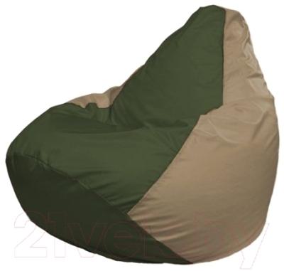 Бескаркасное кресло Flagman Груша Макси Г2.1-52 (темно-оливковый/темно-бежевый)