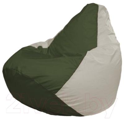 Бескаркасное кресло Flagman Груша Макси Г2.1-59 (темно-оливковый/белый)