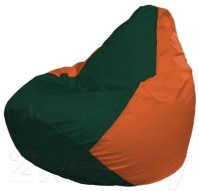 Бескаркасное кресло Flagman Груша Макси Г2.1-64 (темно-зеленый/оранжевый)