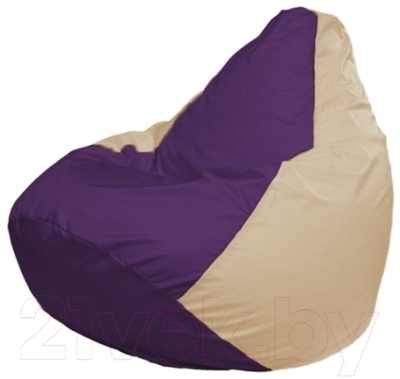 Бескаркасное кресло Flagman Груша Макси Г2.1-73 (фиолетовый/светло-бежевый)