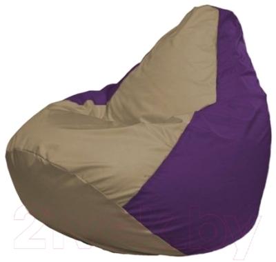 Бескаркасное кресло Flagman Груша Макси Г2.1-79 (темно-бежевый/фиолетовый)