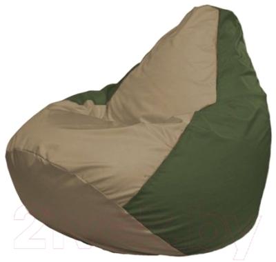 Бескаркасное кресло Flagman Груша Макси Г2.1-82 (темно-бежевый/темно-оливковый)