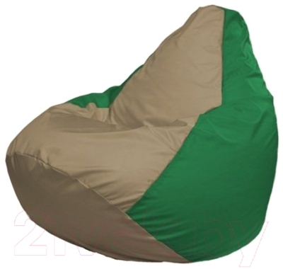 Бескаркасное кресло Flagman Груша Макси Г2.1-94 (темно-бежевый/зеленый)