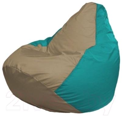 Бескаркасное кресло Flagman Груша Макси Г2.1-98 (темно-бежевый/бирюзовый)