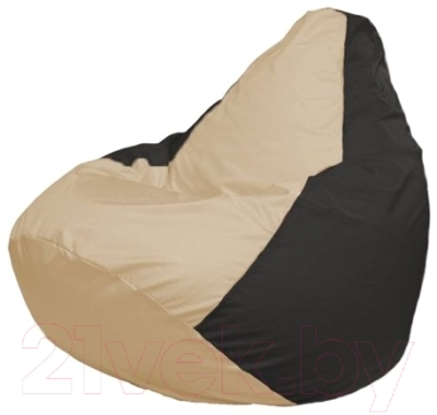 Бескаркасное кресло Flagman Груша Макси Г2.1-130 (светло-бежевый/черный)