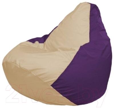 Бескаркасное кресло Flagman Груша Макси Г2.1-132 (светло-бежевый/фиолетовый)