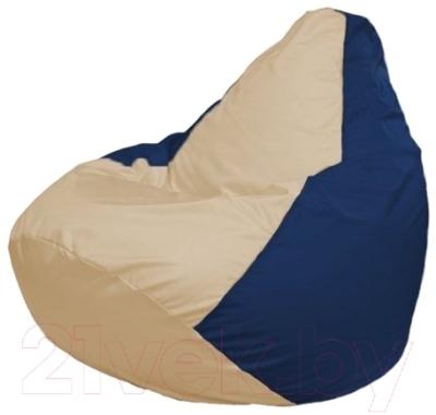 Бескаркасное кресло Flagman Груша Макси Г2.1-133 (светло-бежевый/темно-синий)