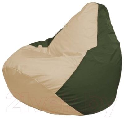 Бескаркасное кресло Flagman Груша Макси Г2.1-135 (светло-бежевый/темно-оливковый)