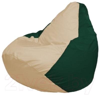 Бескаркасное кресло Flagman Груша Макси Г2.1-137 (светло-бежевый/темно-зеленый)