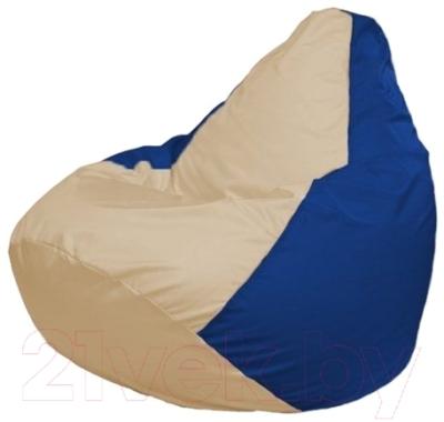 Бескаркасное кресло Flagman Груша Макси Г2.1-139 (светло-бежевый/синий)