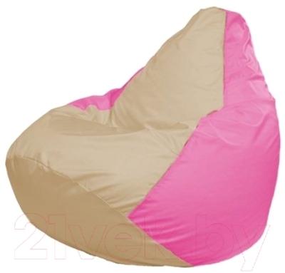 Бескаркасное кресло Flagman Груша Макси Г2.1-142 (светло-бежевый/розовый)