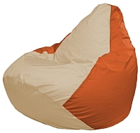 Бескаркасное кресло Flagman Груша Макси Г2.1-143 (светло-бежевый/оранжевый) -