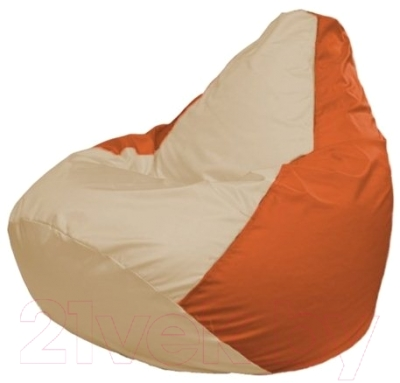 Бескаркасное кресло Flagman Груша Макси Г2.1-143 (светло-бежевый/оранжевый)