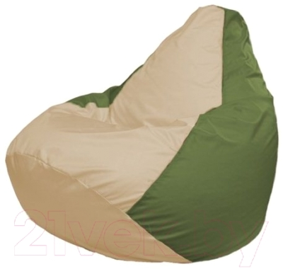 Бескаркасное кресло Flagman Груша Макси Г2.1-144 (светло-бежевый/оливковый)