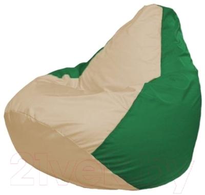 Бескаркасное кресло Flagman Груша Макси Г2.1-147 (светло-бежевый/зеленый)