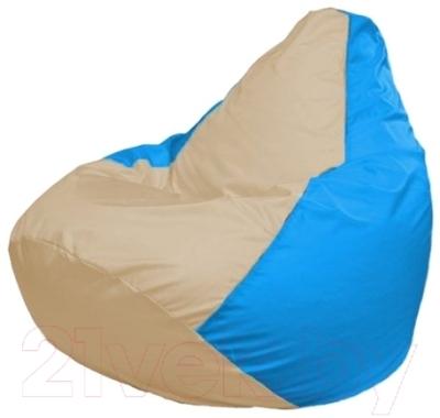 Бескаркасное кресло Flagman Груша Макси Г2.1-149 (светло-бежевый/голубой)