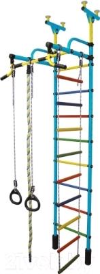 Детский спортивный комплекс Формула здоровья Жирафик-2А Плюс (голубой/радуга)