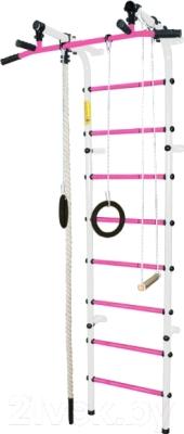 Детский спортивный комплекс Формула здоровья Непоседа-3В Плюс  (белый/розовый)
