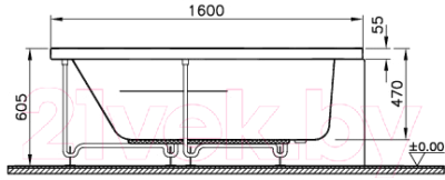 Ванна акриловая VitrA Comfort 160x100 L (52700001000)