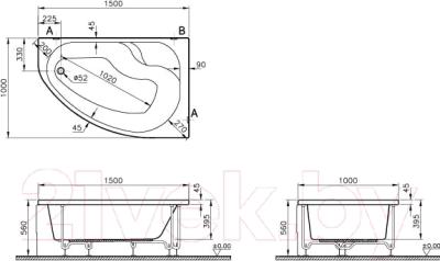 Ванна акриловая VitrA Nysa L 150x100 (50790001000)