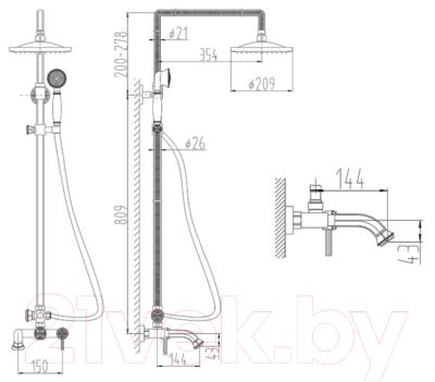 Душевая система ZorG AZR 700 / DS 6-6 BR