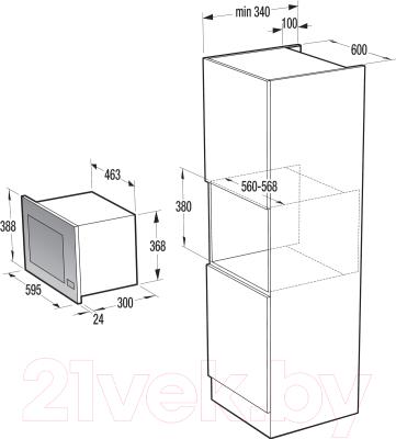 Микроволновая печь Gorenje BM201INI - Схема встраивания