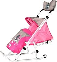 Санки-коляска Тяни-Толкай Трансформер Люкс Любопытный щенок (розовый) -