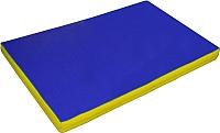 Гимнастический мат NoBrand 2x1x0.1м (синий/желтый) -