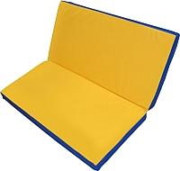 Гимнастический мат NoBrand Складной 1x1x0.05м (желтый/синий) -