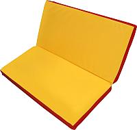 Гимнастический мат NoBrand Складной 1x1x0.05м (желтый/красный) -