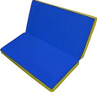 Гимнастический мат NoBrand Складной 1x1x0.05м (синий/желтый) -