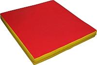 Гимнастический мат NoBrand 1x1x0.1м (красный/желтый) -