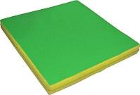 Гимнастический мат NoBrand 1x1x0.1м (зеленый/желтый) -
