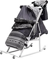 Санки-коляска ABC academy Скандинавия 4УМ Софт (серый/белый) -