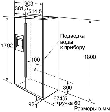 Холодильник с морозильником Siemens KA58NA75RU - схема встраивания