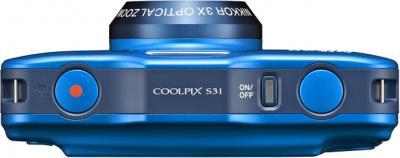Компактный фотоаппарат Nikon Coolpix S31 Blue - вид сверху